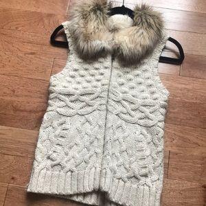 LOFT Fur/Sweater Vest
